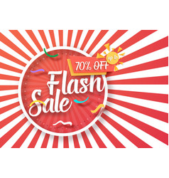Flash sale poster with sunburs vector