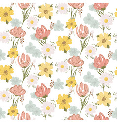 floral seamless pattern with wildflowers and vector image