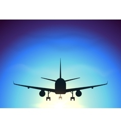 Fly away plane on blue sky background vector