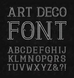 Font in art deco style vintage latin alphabet vector