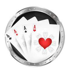 four playing cards in a silver circle vector image