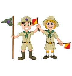 funny boy and girl scout cartoon vector image