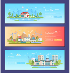 green city - set of modern flat design style vector image