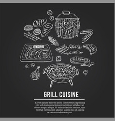grill cuisine menu doodle icons vector image