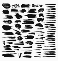 grunge hand drawn brush stroke set vector image
