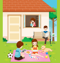Happy family relaxing with activity at home vector
