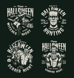 Happy halloween vintage labels vector
