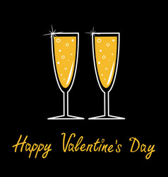 happy valentines day champagne line glasses with vector image