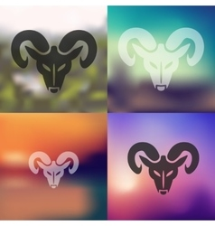 head of the ram icon on blurred background vector image