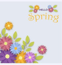 hello spring color nature flower greeting card vector image