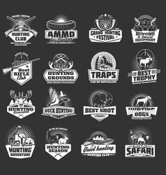 hunting wild animals hunter ammo heraldic icons vector image