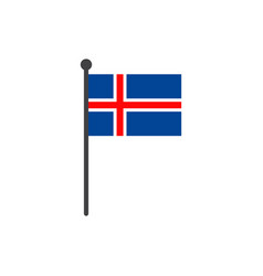 iceland flag with pole icon isolated on white vector image