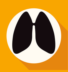 icon lungs on white circle with a long shadow vector image