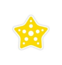 Icon sticker realistic design on paper star fish vector