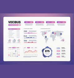Infographic dashboard template ui ux design with vector