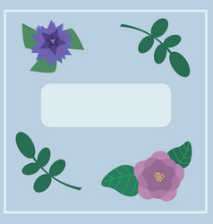Inviting card with flowers and leafs vector