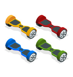 isometric hoverboard or gyroscooter set of vector image