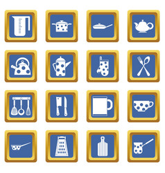 Kitchen tools and utensils icons set blue vector