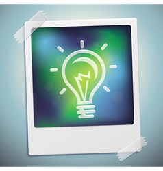 Light bulb icon on polaroid frame - start u vector