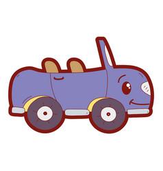line color kawaii happy sport car transport vector image