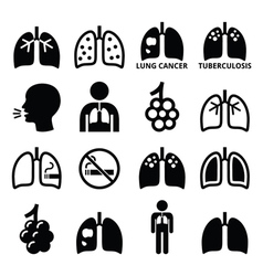 Lungs lung disease icons set vector