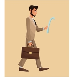 Man walking newspaper portfolio elegant vector
