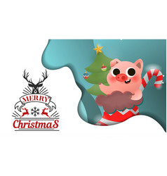 merry christmas and happy new year pig vector image