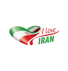 National flag iran in shape a heart vector