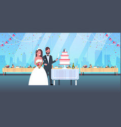 newlyweds just married man woman cutting sweet vector image