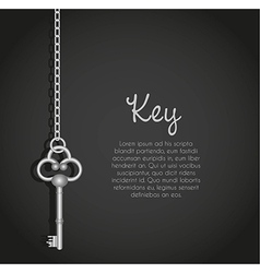 old keys with link chain black background with tex vector image