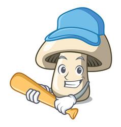 Playing baseball champignon mushroom character vector