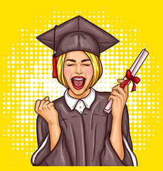 Pop art excited girl graduate student in a vector