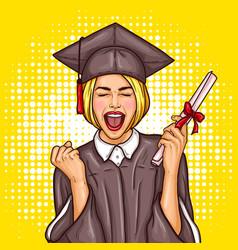 Pop art excited girl graduate student vector