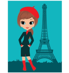Pretty girl in the paris vector
