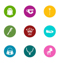 Prom icons set flat style vector