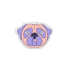 Pug Face Bright Hipster Sticker vector image