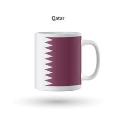 Qatar flag souvenir mug on white background vector