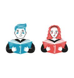 reading book school concept cartoon vector image