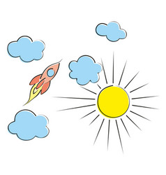 Rocket with clouds vector