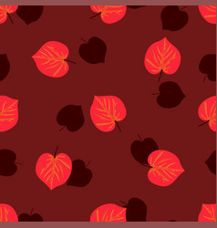 seamless pattern with hand drawn autumn leaves on vector image vector image