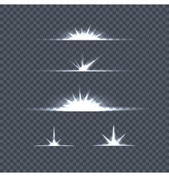 Set bright lights on transparency glow flash vector