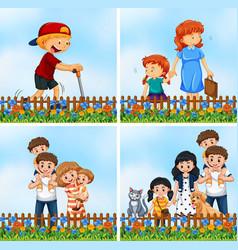 set happy family in garden vector image