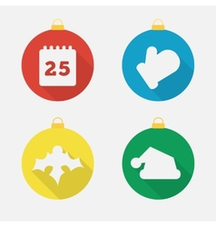 Set of Christmas icons flat icons vector image