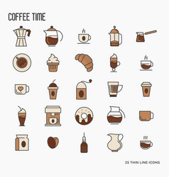 Set of coffee equipment icons for shop cafe menu vector