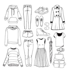 set of womens sport clothes woman clothing set vector image