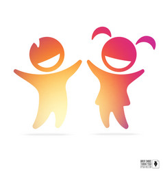 Silhouette of happy children boy and girl vector