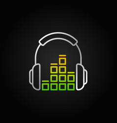 silver headphones with sound equalizer line vector image