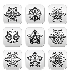Snowflakes winter black and white buttons set vector