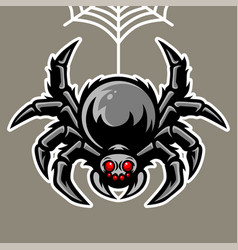 Spider mascot hanging on spider web vector
