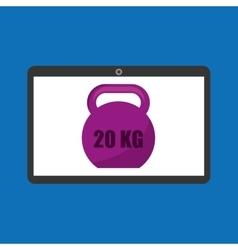 Sport laptop app concept kettlebell vector
